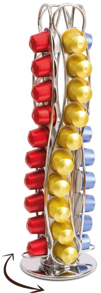 Coffee Shop - Isis CH0016 - Portacapsule rotary in metallo acciaio inossidabile per Nespresso Capienza 40 capsule Stand porta capsule di caffè
